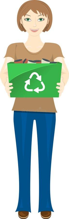 A terra arrendada da mulher nova recicl o escaninho ilustração do vetor
