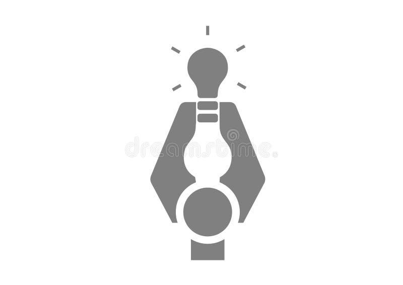 Terra arrendada de braço do robô uma ampola - logotipo ilustração do vetor