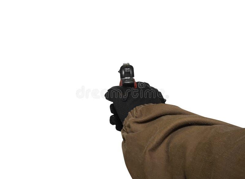 terra arrendada de braço do soldado uma arma fotos de stock