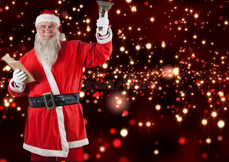 A terra arrendada de Papai Noel envolvem e o sino de Natal foto de stock