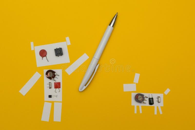 Terra arrendada de papel do robô uma pena perto do cão ilustração stock