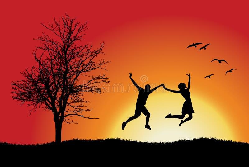 Terra arrendada do homem e da menina para as mãos e o salto ilustração do vetor