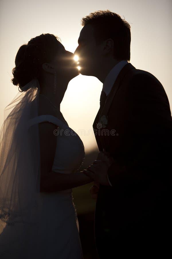 A terra arrendada do homem que beija a mulher mostra em silhueta o parque da noite fotos de stock