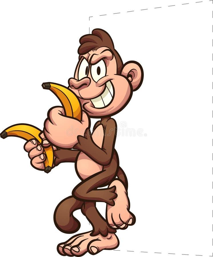 Terra arrendada do macaco dos desenhos animados às bananas e inclinação em algo ilustração royalty free