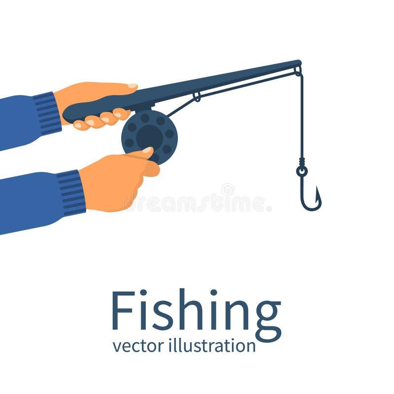Terra arrendada do pescador na vara de pesca clássica das mãos ilustração stock