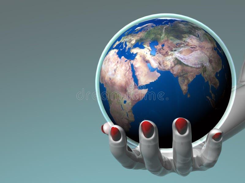 Terra arrendada Earth_Europe & África da mão ilustração royalty free