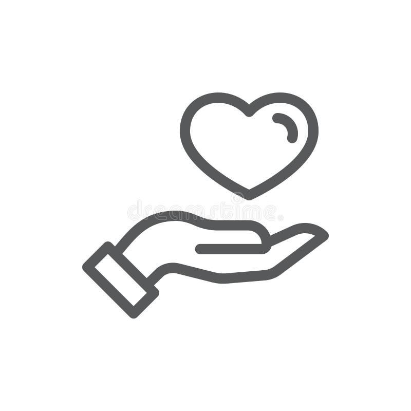 Terra arrendada humana da mão ou doação coração da linha fina ícone com curso editável ilustração stock