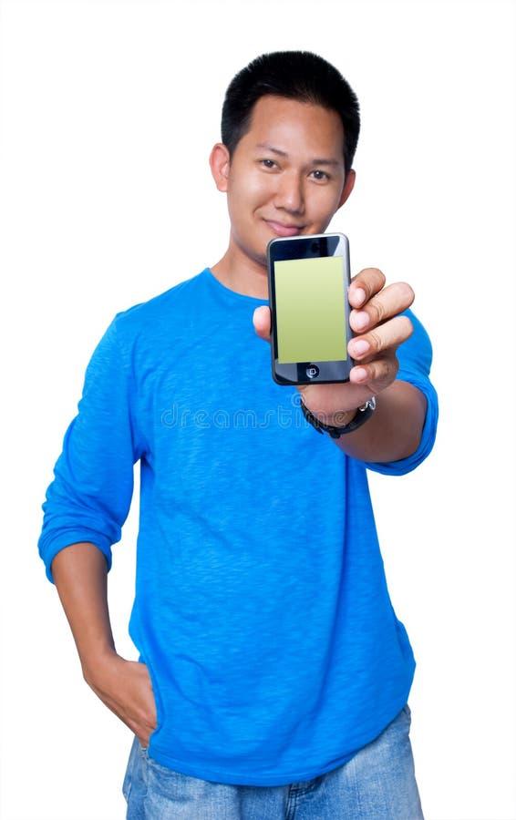 Terra arrendada PDA do homem imagem de stock royalty free