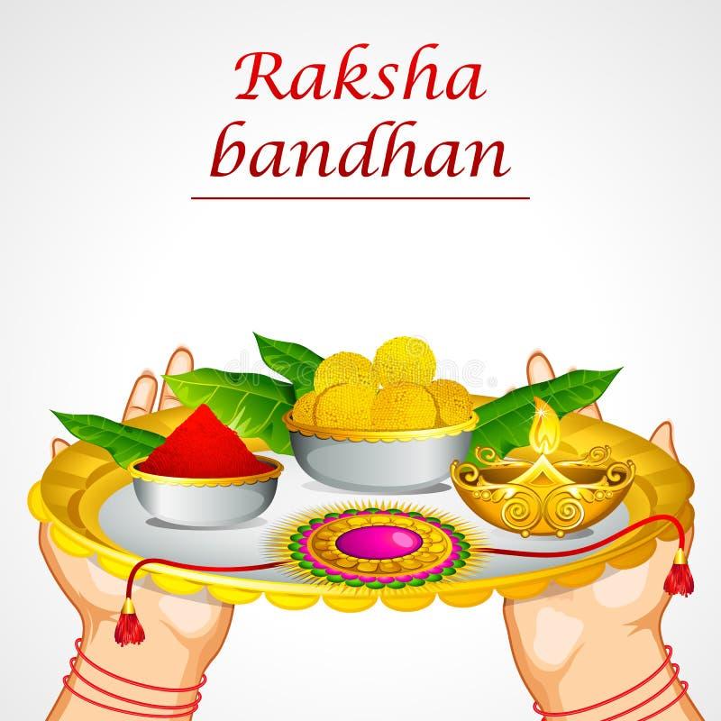 Terra arrendada Raksha Bandhan Thali da mão ilustração stock