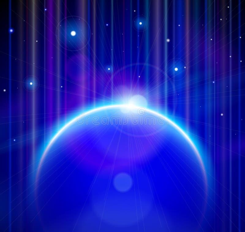Terra azul do planeta com aumentação Sun, estrelas ilustração do vetor