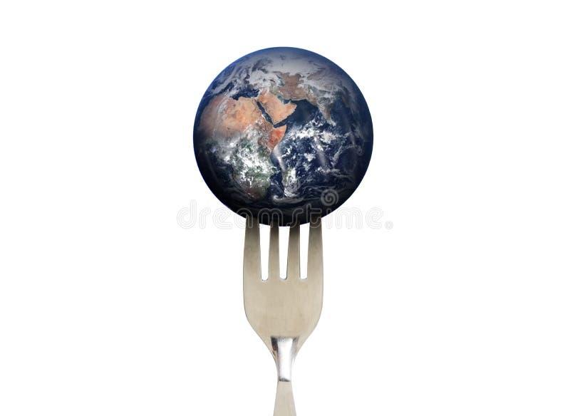 Terra azul do planeta com a forquilha, isolada no fundo branco, ambiental e no alimento Os elementos desta imagem são fornecidos  fotos de stock