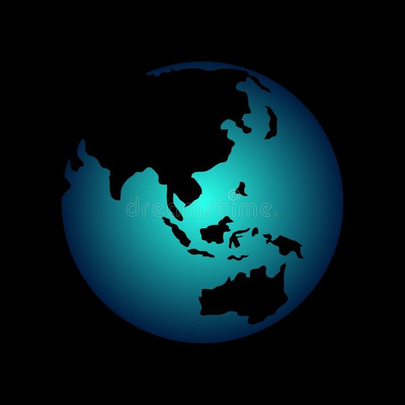 Terra azul do planeta no céu preto ilustração royalty free