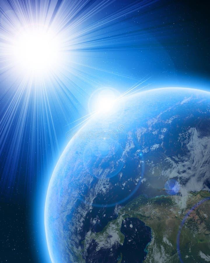 Terra azul do planeta no espaço ilustração royalty free