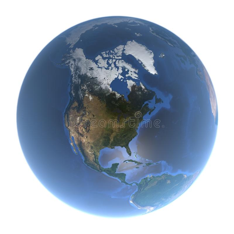 A terra azul do planeta - uma vista de America do Norte sem nuvens, 3d rendição, elementos desta imagem fornecidos pela NASA ilustração stock