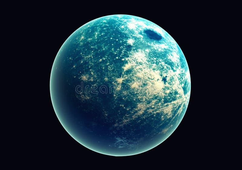 Terra azul no espaço e na galáxia Globo com ozônio exterior do fulgor e ilustração royalty free