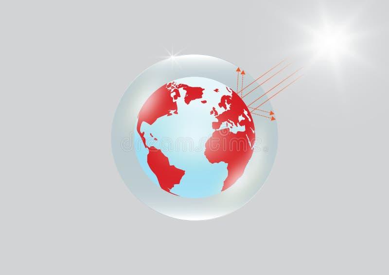 Terra bloccata in serra di vetro trasparente con forte luce solare, concetto ambientale di effetto serra royalty illustrazione gratis