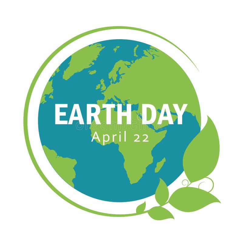 Terra blu e verde con foglie terra giorno il 22 aprile illustrazione vettoriale