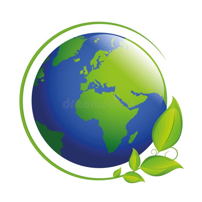 Terra blu e verde con le foglie illustrazione vettoriale