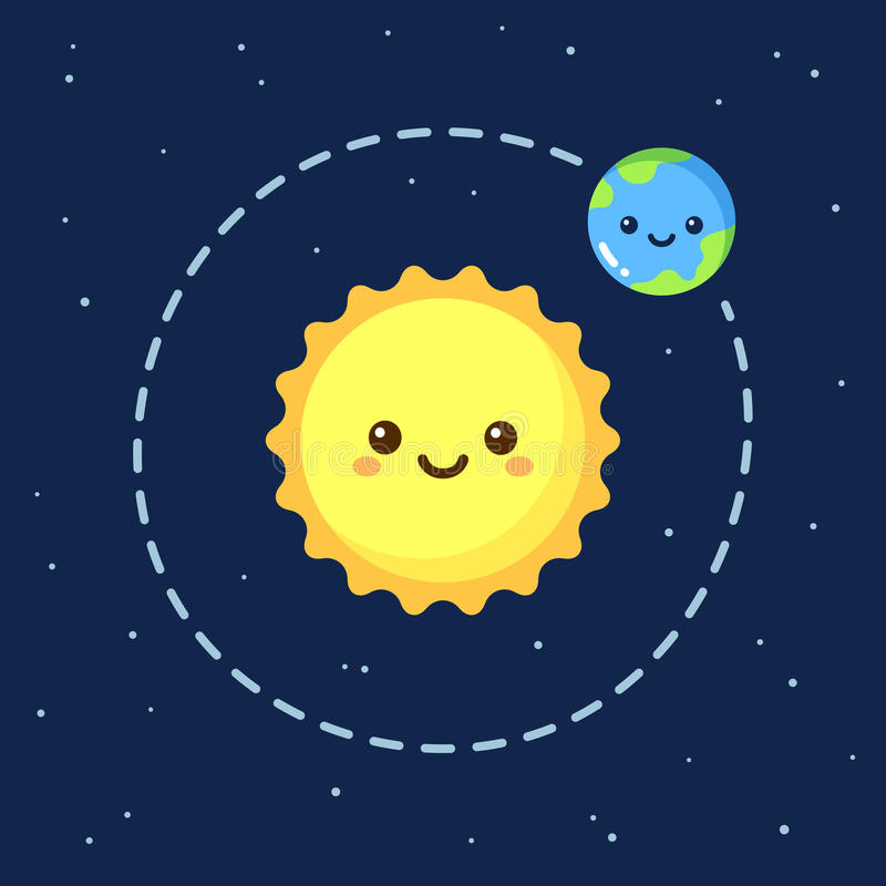 Terra bonito e Sun dos desenhos animados ilustração stock