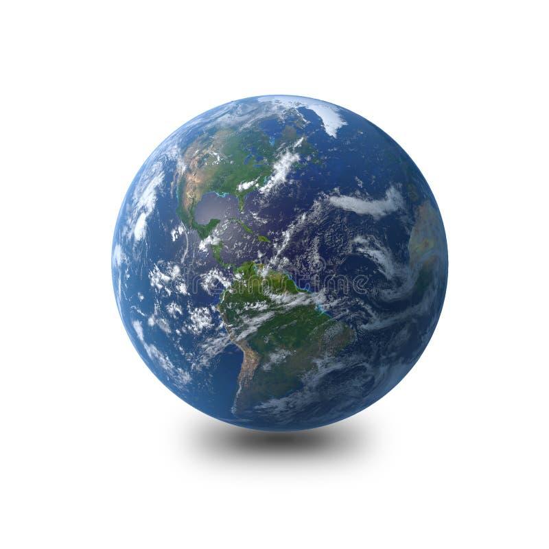 Terra - branco de América Enterre o modelo do globo, cortesia dos mapas da NASA rendição 3d ilustração do vetor