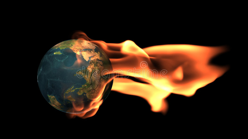 Terra cercada por flamas fotografia de stock royalty free