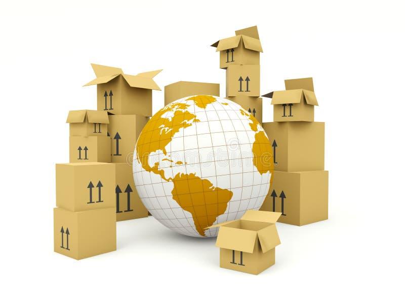 Terra com as caixas isoladas no branco ilustração stock