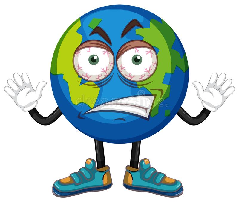 Terra com cara irritada ilustração stock