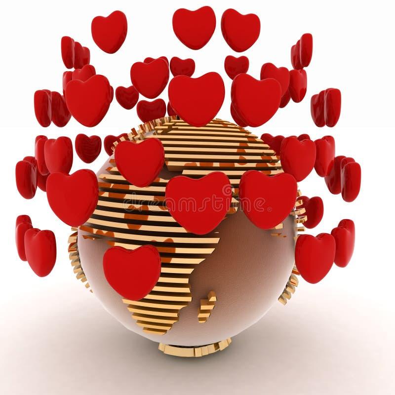 Terra com corações ilustração stock