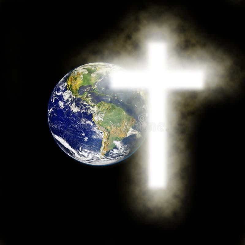 Terra com cruz religiosa com fundo preto imagens de stock royalty free
