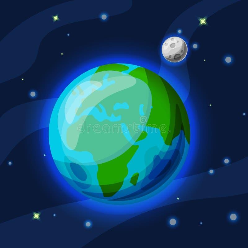 Terra com desenhos animados do vetor da lua e ilustração lisa Planeta verde e azul da terra com a lua cinzenta no espaço estrelad ilustração stock