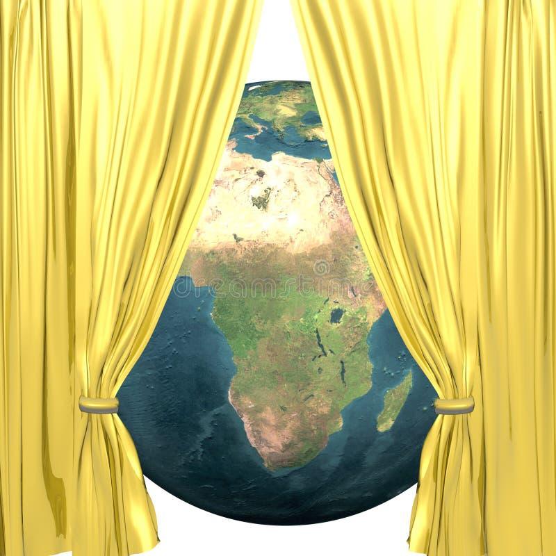 Terra com drapery dourado ilustração stock