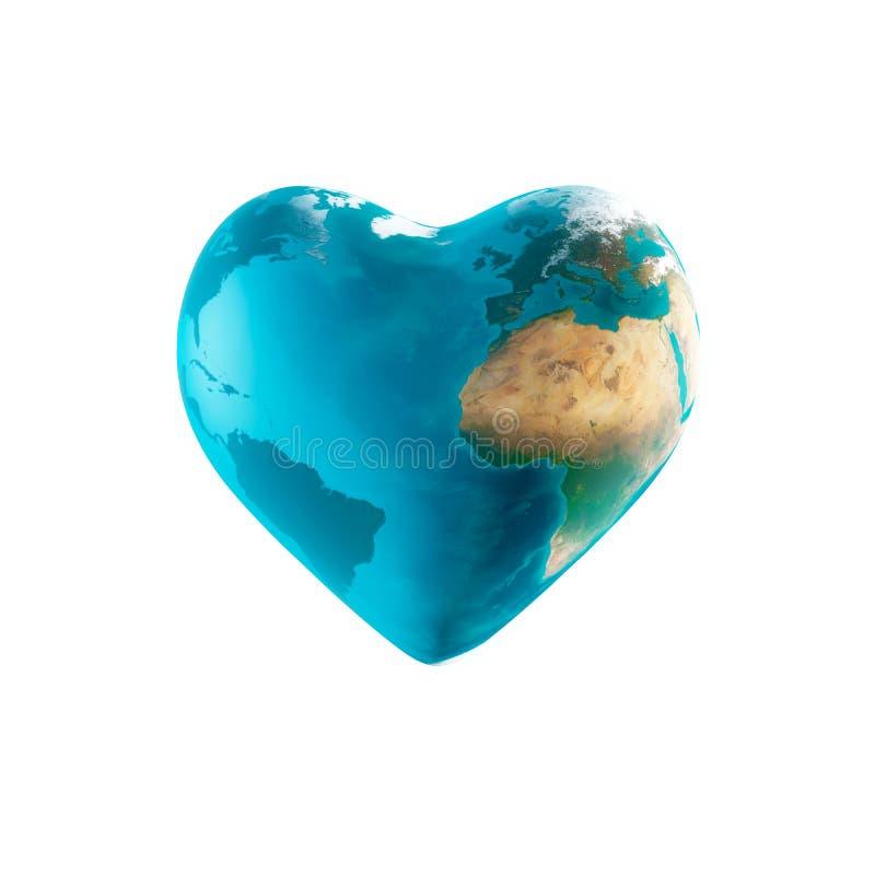 A terra com forma do coração ilustração do vetor