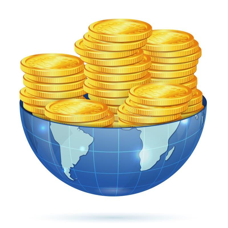 Terra com moedas de ouro ilustração do vetor