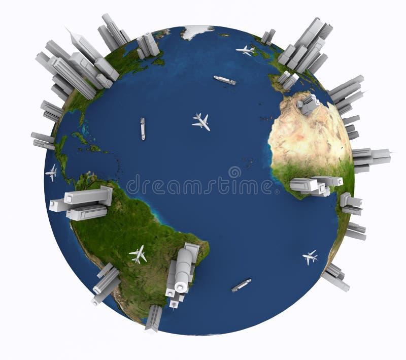 Terra com navios, planos e arranha-céus ilustração do vetor