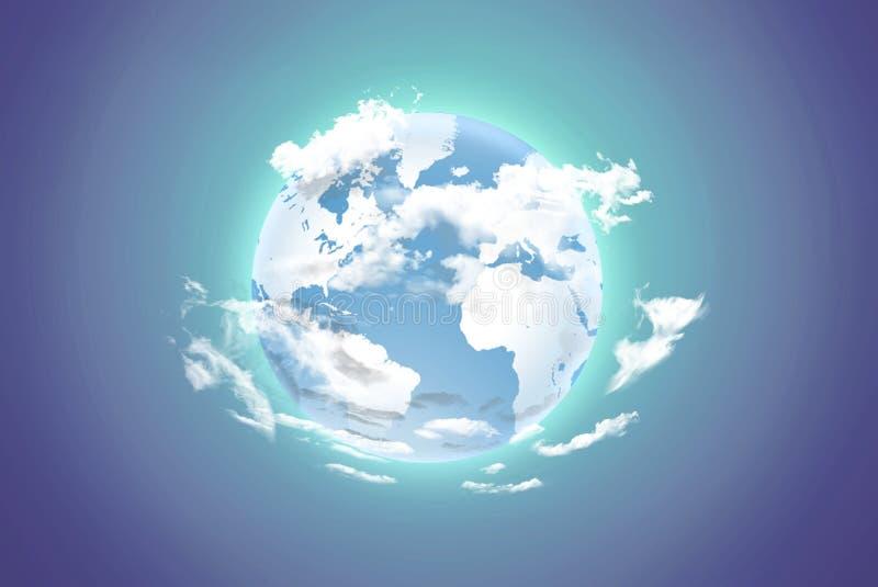 Terra com nuvens brancas em um fundo da cor imagem de stock royalty free