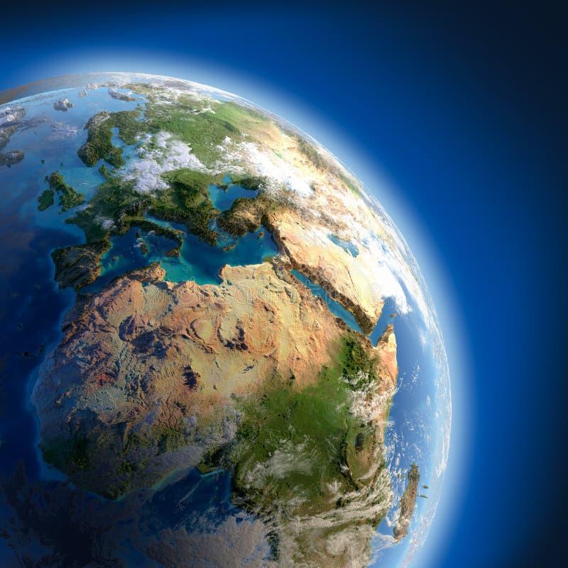 Terra com o relevo elevado, iluminado ilustração do vetor