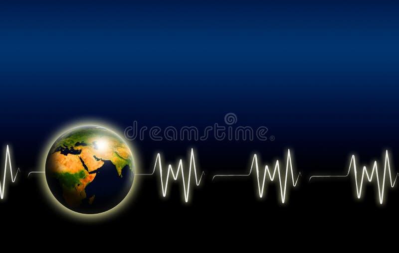 Terra com pulso sobre a obscuridade ilustração stock