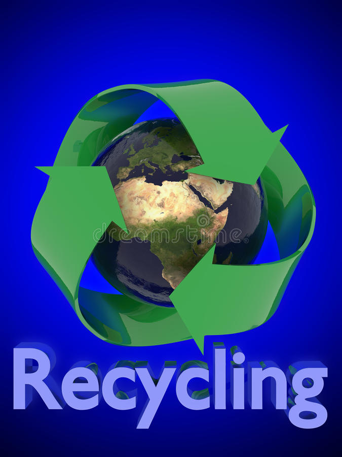 Terra com recicl do símbolo ilustração stock