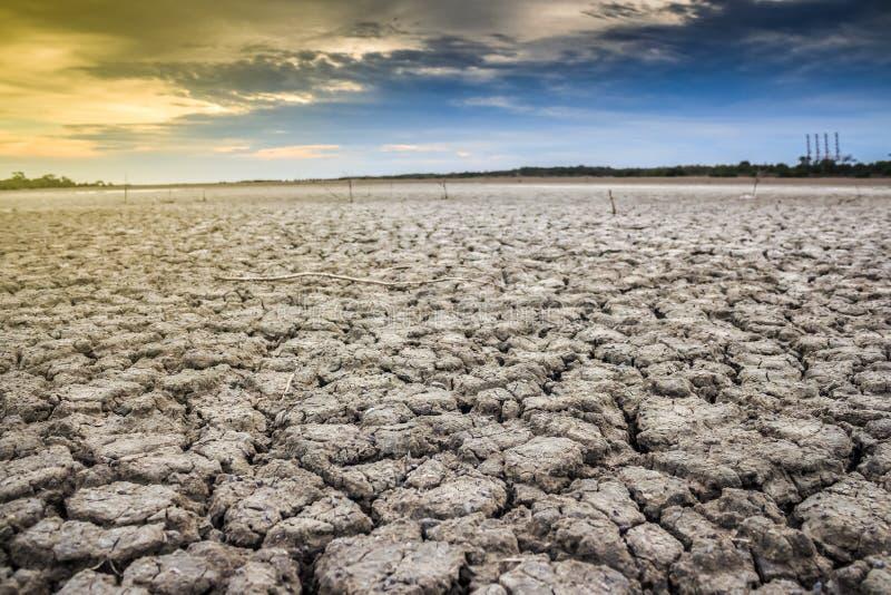 Terra com terra seca e rachada Deserto imagem de stock