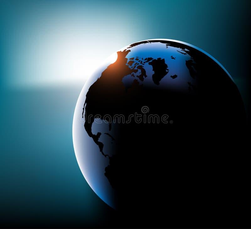 Terra com vetor do sol ilustração stock