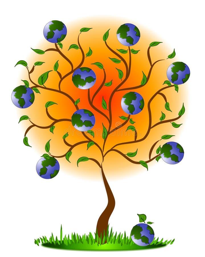 Terra como a fruta em uma árvore ilustração stock