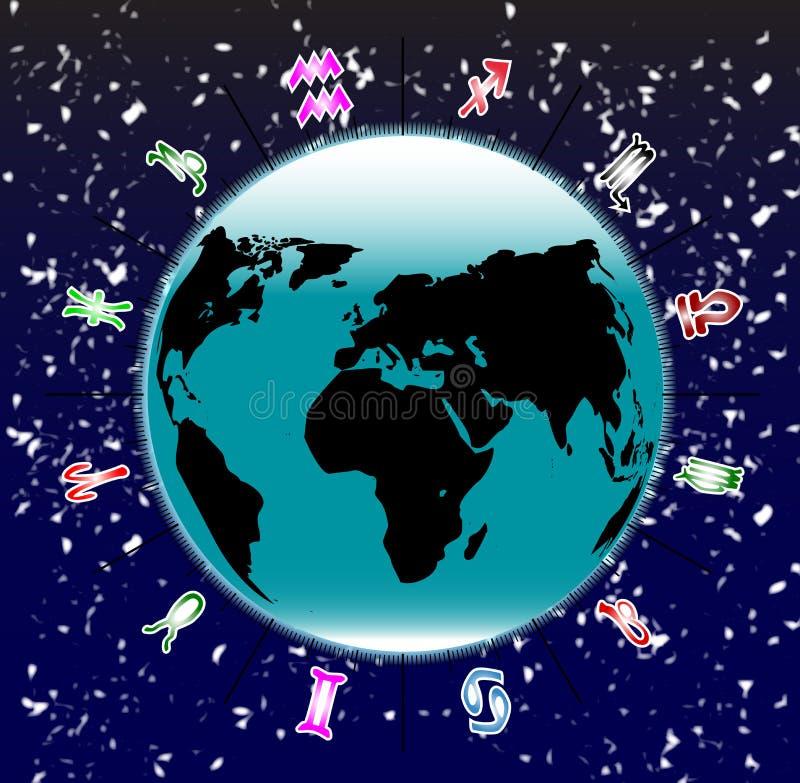 Terra con i segni dello zodiaco royalty illustrazione gratis