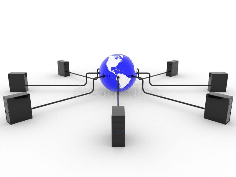Terra Con I Server Immagine Stock