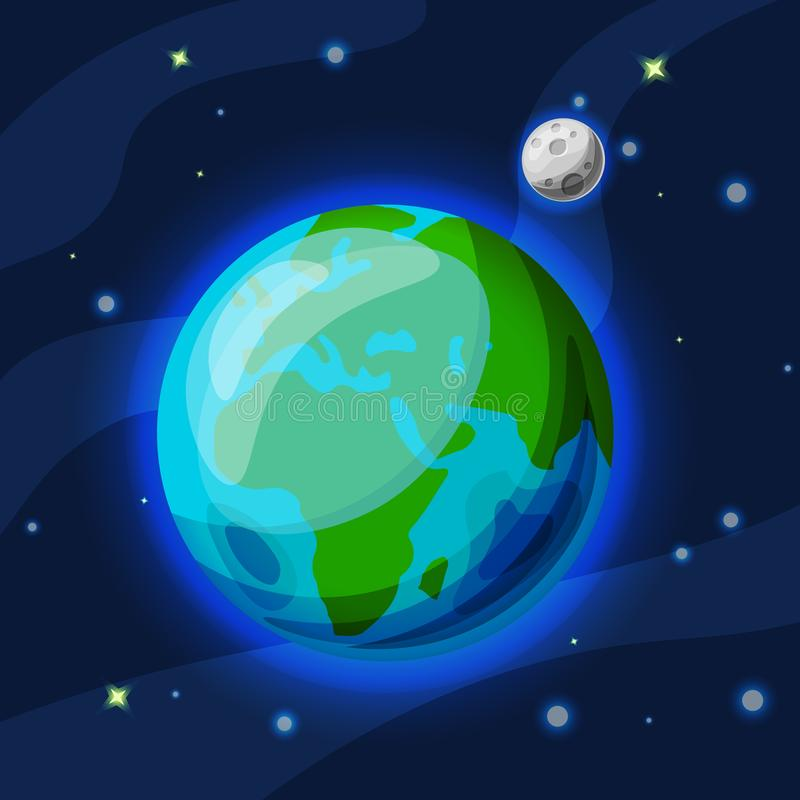 Terra con il fumetto di vettore della luna e l'illustrazione piana Pianeta verde e blu della terra con la luna grigia nello spazi illustrazione di stock