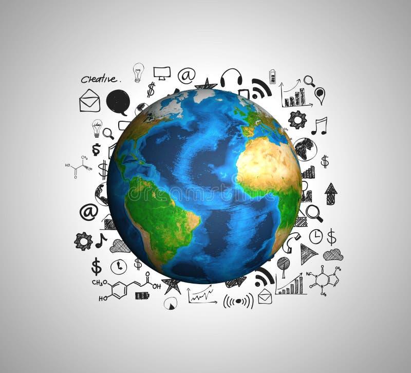 Terra con il grafico commerciale e gli oggetti business del disegno fotografie stock