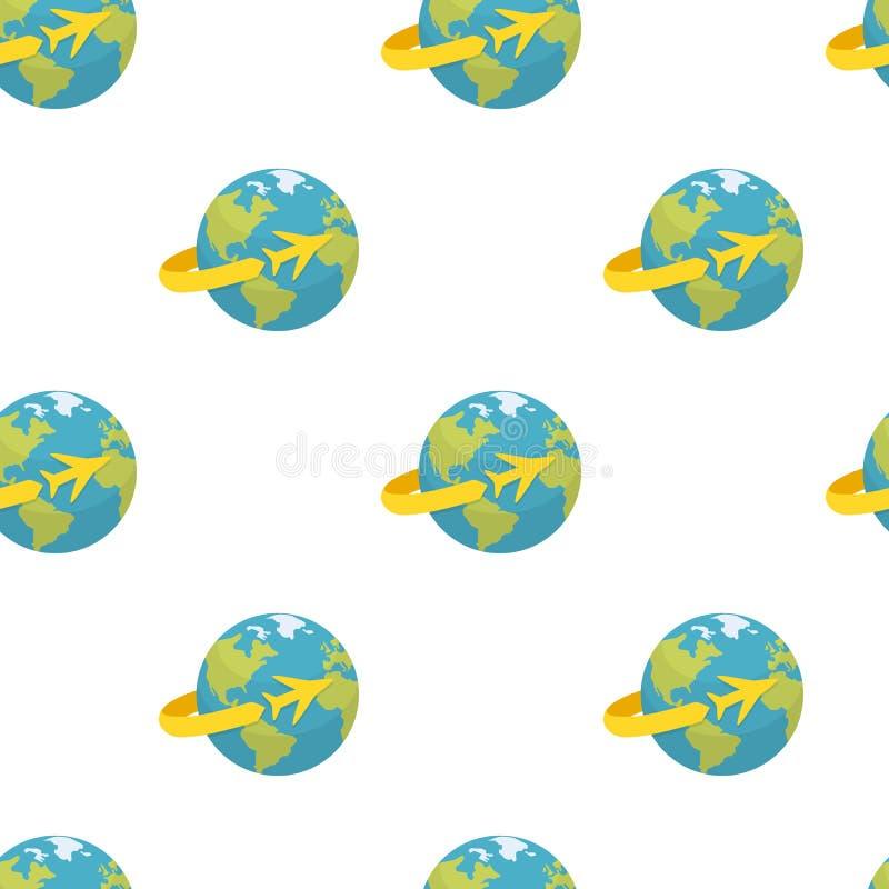 Terra con il modello senza cuciture dell'icona dell'aeroplano royalty illustrazione gratis