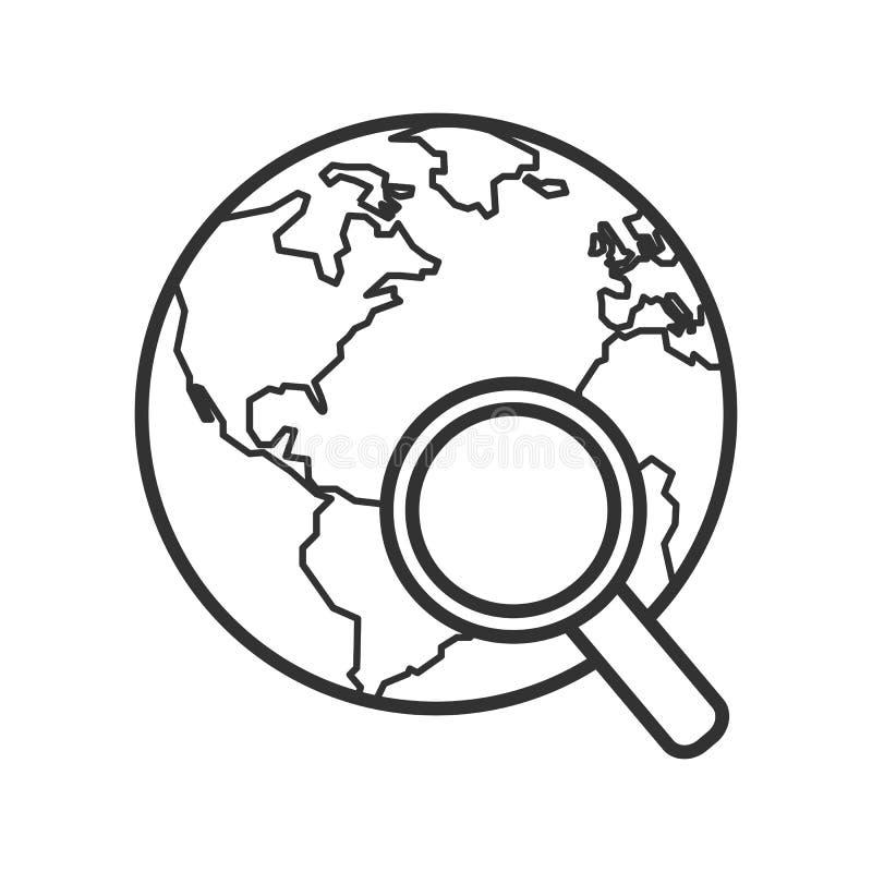 Terra con l'icona piana del profilo della lente d'ingrandimento illustrazione vettoriale