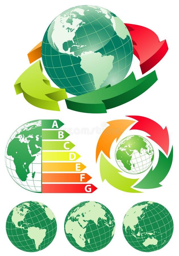 Terra con la freccia di rendimento energetico royalty illustrazione gratis