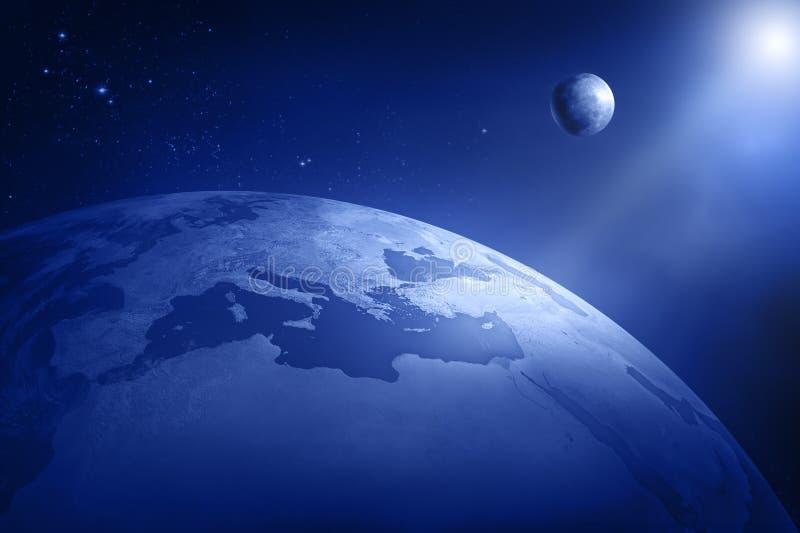 Terra con la luna ed il sole royalty illustrazione gratis