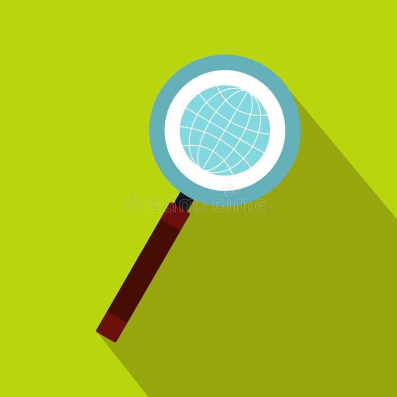Terra con stile piano dell'icona di ricerca della lente d'ingrandimento illustrazione vettoriale
